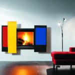 Foyer à bois ouvert avec 3 panneaux colorés FOCUS - Atraconfort