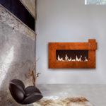 Chauffage à l'éthanol dans mur avec détail couleur rouille FOCUS - Atraconfort